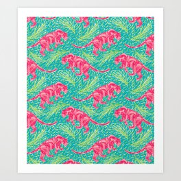 Pink Panther Jungle Scape Art Print