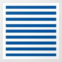 preppy Art Prints featuring Preppy Navy & White Stripe by Sweet Karalina