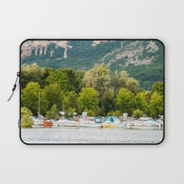 Group of boats at deck in small pier french marina bay harbor Laptop Sleeve