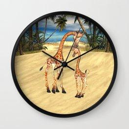 Mothers Love Giraffes Wall Clock