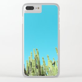 Desert Cactus Reaching for the Blue Sky Clear iPhone Case