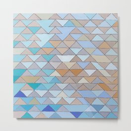 Triangle Pattern no.1 Blues and Browns Metal Print