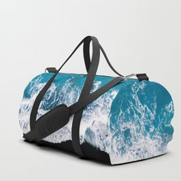 Black sand beach with waves and blue Ocean in Iceland – Minimal Photography Duffle Bag