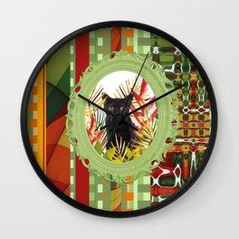 Black Cat jungle Frame pattern Wall Clock
