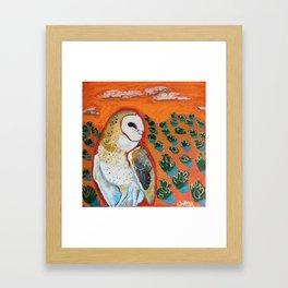 Barn Owl and Orange Framed Art Print