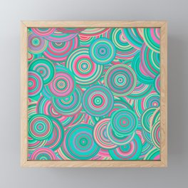 Hypnotic Retro Teal and Pink Circles Framed Mini Art Print