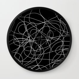 Abstract Black and White Minimal Linework Wall Clock