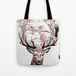 Deer and Flowers Tote Bag