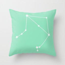 Libra (White & Mint Sign) Throw Pillow