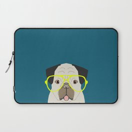 Emerson - Pug with neon Hipster Glasses, Cute Retro Dog, Dog, Husky with Glasses, Funny Dog Laptop Sleeve