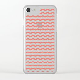 Waves with Tiny Boat ~ coral red Clear iPhone Case