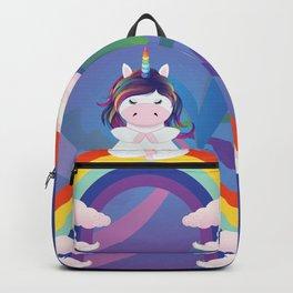 Unicorn yoga meditation on the rainbow Backpack