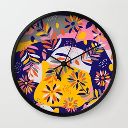 Folk Flowers I Wall Clock