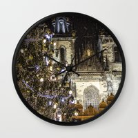 new year Wall Clocks featuring New Year 3 by Veronika