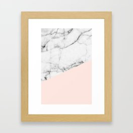 Real White marble Half Salmon Pink Framed Art Print