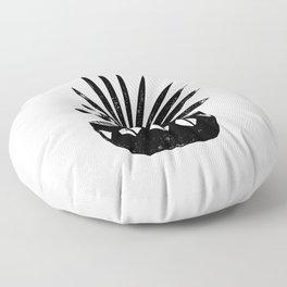 Aloe houseplant linocut lino print black and white minimal modern office home dorm college decor Floor Pillow