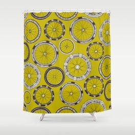 bike wheels chartreuse Shower Curtain
