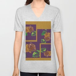 Gold leaf painting and graphic design, brown green purple Unisex V-Neck