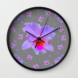 GREY ART TROPICAL LILAC CATTLEYA ORCHID FLOWERS Wall Clock