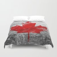 canada Duvet Covers featuring Canada Flag by Michael Leighfield