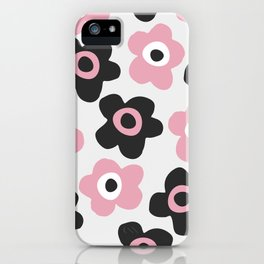 Black and pink flowers iPhone Case