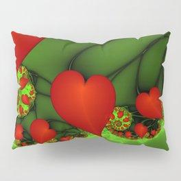 Dancing Red Hearts Fractal Art Pillow Sham