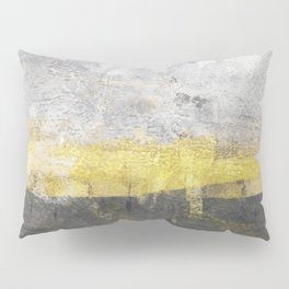 Yellow and Grey Abstract Painting - Horizontal Pillow Sham