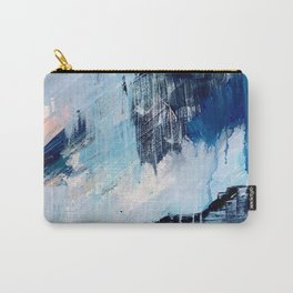Vibes: an abstract mixed media piece in blues and pinks by Alyssa Hamilton Art Carry-All Pouch