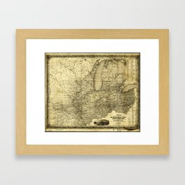 Map of the Midwest United States (c 1840) Framed Art Print