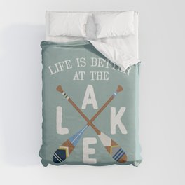 Life Is Better At The LAKE Painted Paddles Duvet Cover