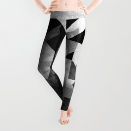 Abstract Black Geometric Leggings