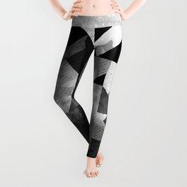 Abstract Black Geometric Leggings