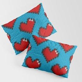 Knitted heart pattern - blue Pillow Sham
