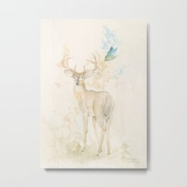 Deer and butterfly Metal Print