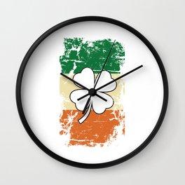 Distressed Irish Flag St Patrick Shamrock Wall Clock