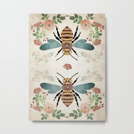 botanical bee Metal Print