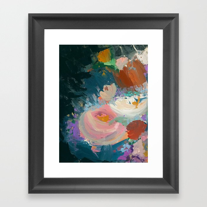 Sweet Nothings: a colorful floral abstract in pinks, reds, blues, and white Gerahmter Kunstdruck
