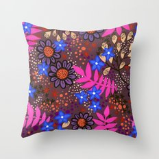 Midnight Forest Flowers Throw Pillow
