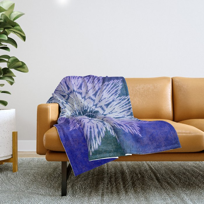 tie dye sunflower mandala in blues Throw Blanket