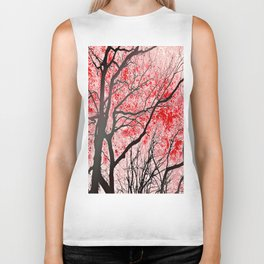 The Trees Know (red-black) Biker Tank