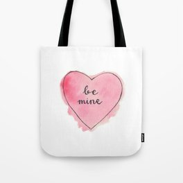 Watercolor BE MINE Heart Tote Bag