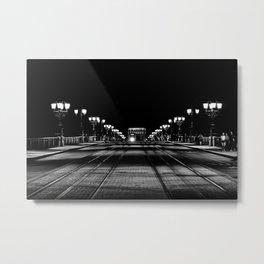 Night scene at the stone bridge of Bordeaux | Travel Photography Metal Print