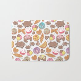 Mexican Sweet Bakery Frenzy // white background // pastel colors pan dulce Bath Mat