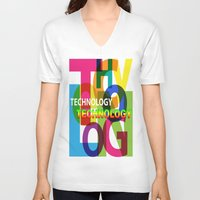 technology V-neck T-shirts featuring Creative Title : TECHNOLOGY by Don Kuing