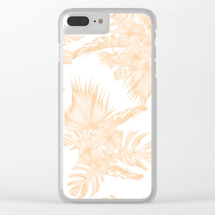 Island Vacation Hibiscus Palm Coral Apricot Orange Clear iPhone Case