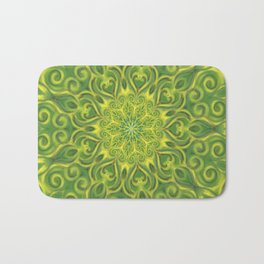 Green and Yellow center Swirl Pattern Bath Mat