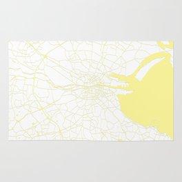 White on Yellow Dublin Street Map Rug