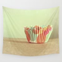cupcakes Wall Tapestries featuring I Dream of Cupcakes by Melissa Lund