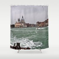 italy Shower Curtains featuring Venice, Italy by osile ignacio