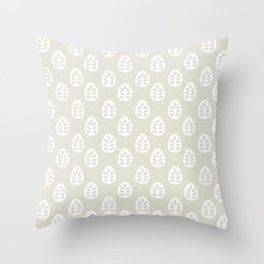 Abstract blush gray white polka dots leaves illustration Throw Pillow